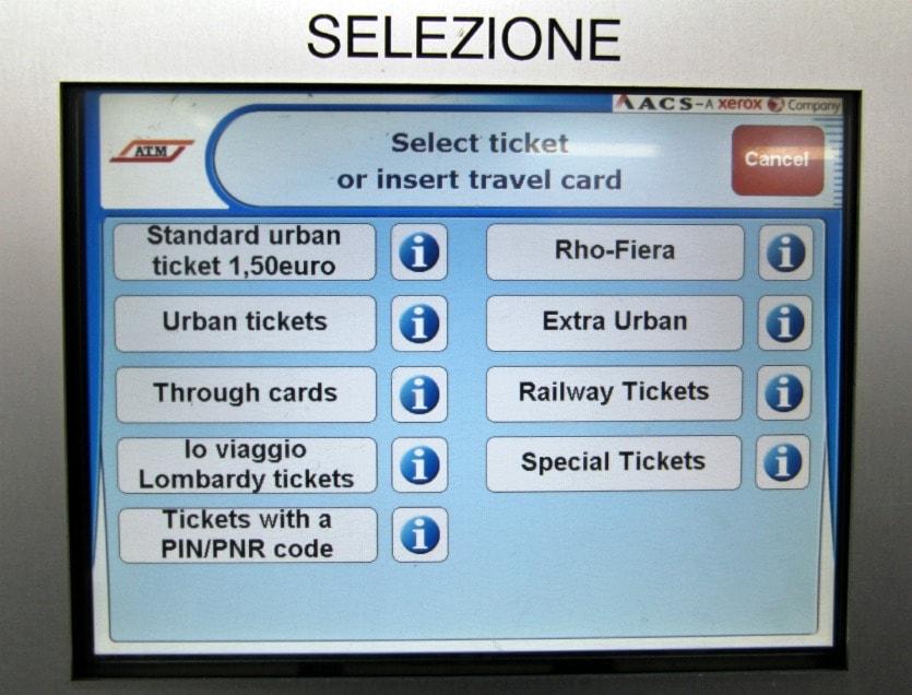 Билетный автомат в Милане