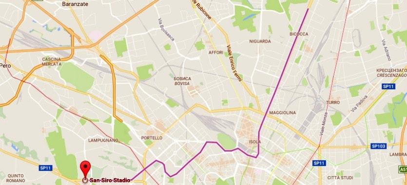 Линии метро в Милане М4