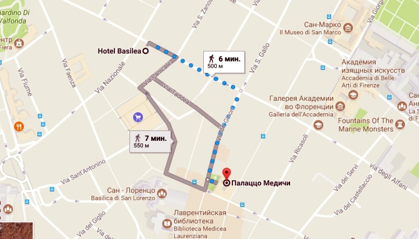 Маршрут до Палаццо Медичи-Риккарди