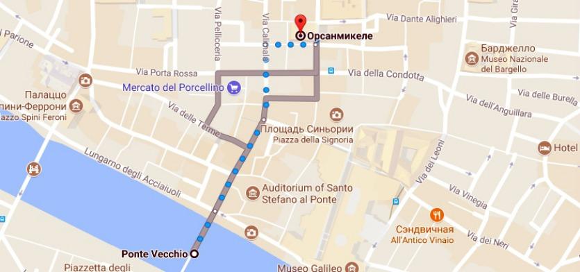 Маршрут Ponte Vecchio - Орсанмикеле
