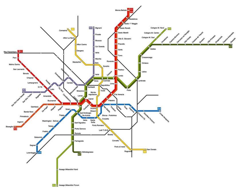 Схема линии метро в Милане