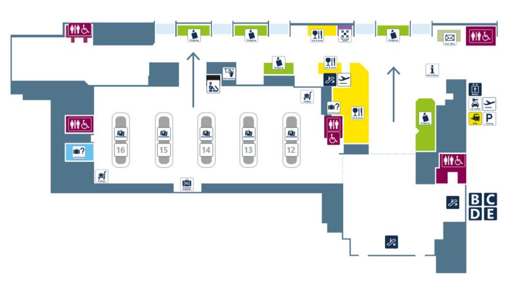 Терминал 1 аэропорта Фьюмичино. Зона прибытия