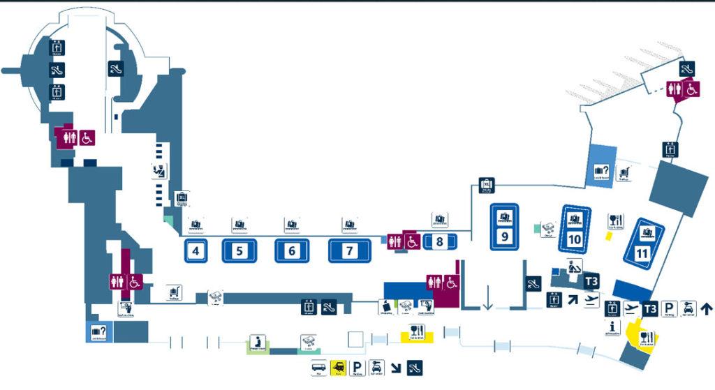 Терминал 3 аэропорта Фьюмичино. Зона прибытия