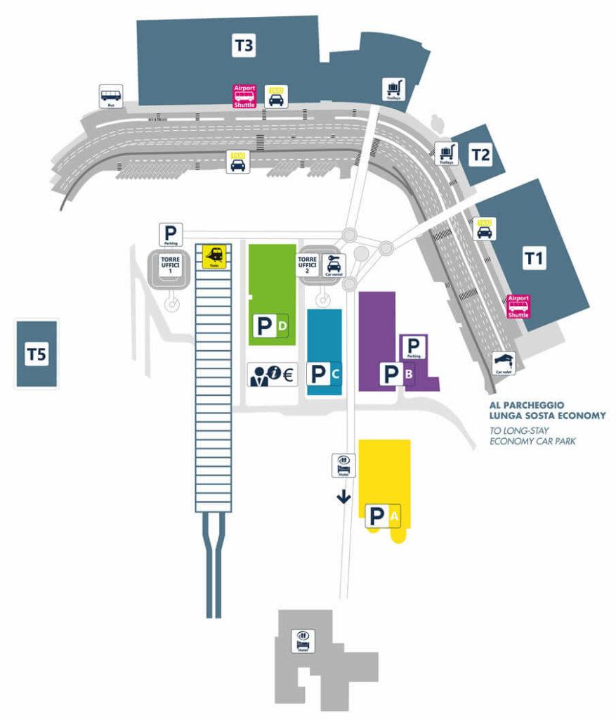 Карта терминалов аэропорта Фьюмичино